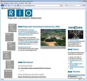 Abbildung der neuen Website www.gewerbegebiet-rio.de