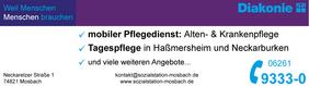 Anzeige Telefonbuch Sozialstation Mosbach