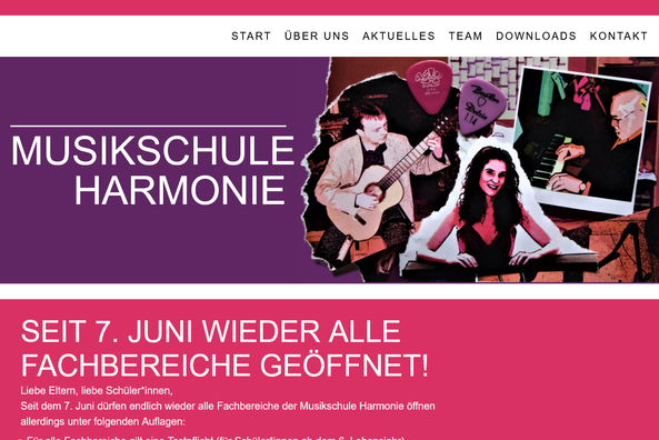 Website Musikschule Harmonie aus Gundelsheim und Bad Friedrichshall