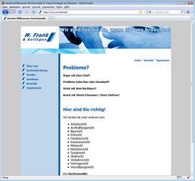 Startseite der Internetseite www.ra-frank.de