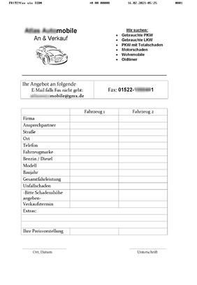 Beispiel unerwünschter Faxwebrung