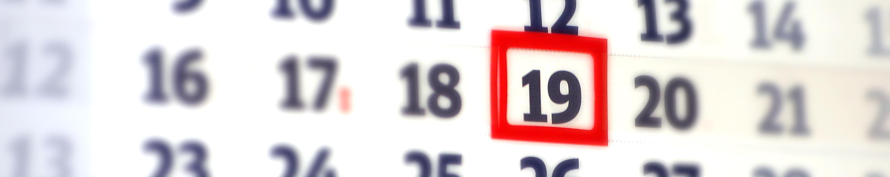 Kalender mit Tagesmarkierung