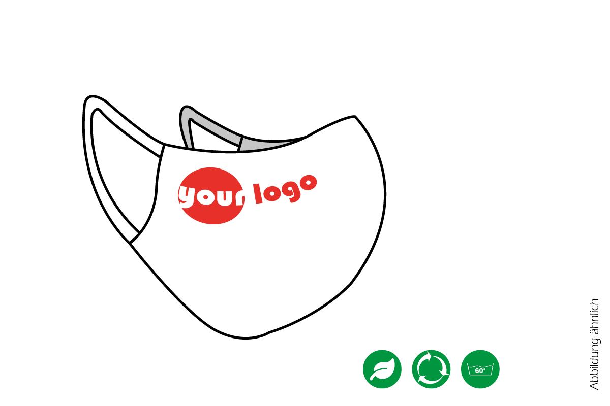 Bedruckte Alltagsmaske mit Dummy-Logo