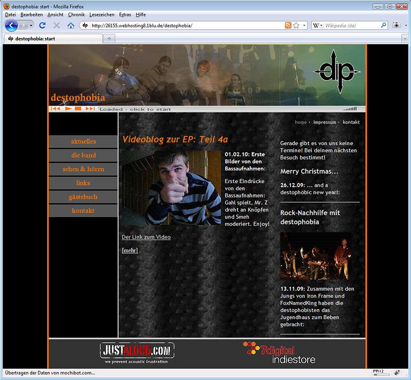 Screenshot der neuen destophobia-Website