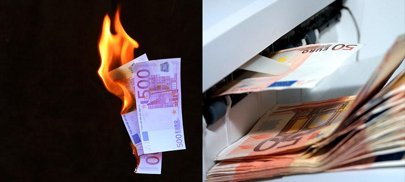 Geld verbrennt - Geld wird gedruckt