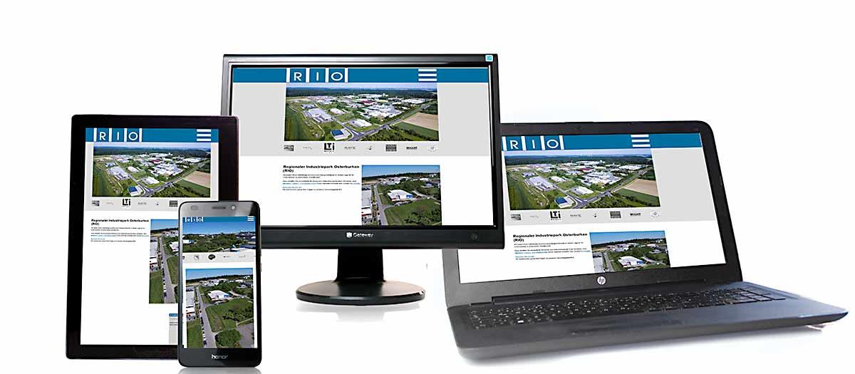 responsive Webseite gewerbegebiet-rio.de auf unterschiedlichen Endgeräten