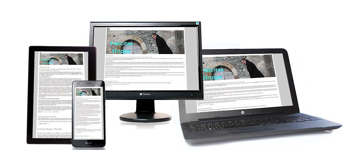 TYPO3 Webseite felicitas-hoppe.de im Smartphone, Tablet, Laptop und auf dem Monitor