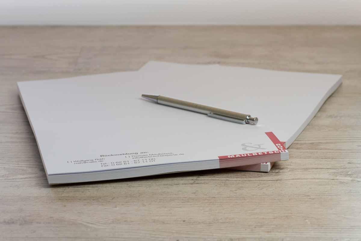 individuell gedruckte Schreibblöcke